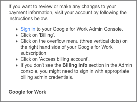 billing email from Google Apps
